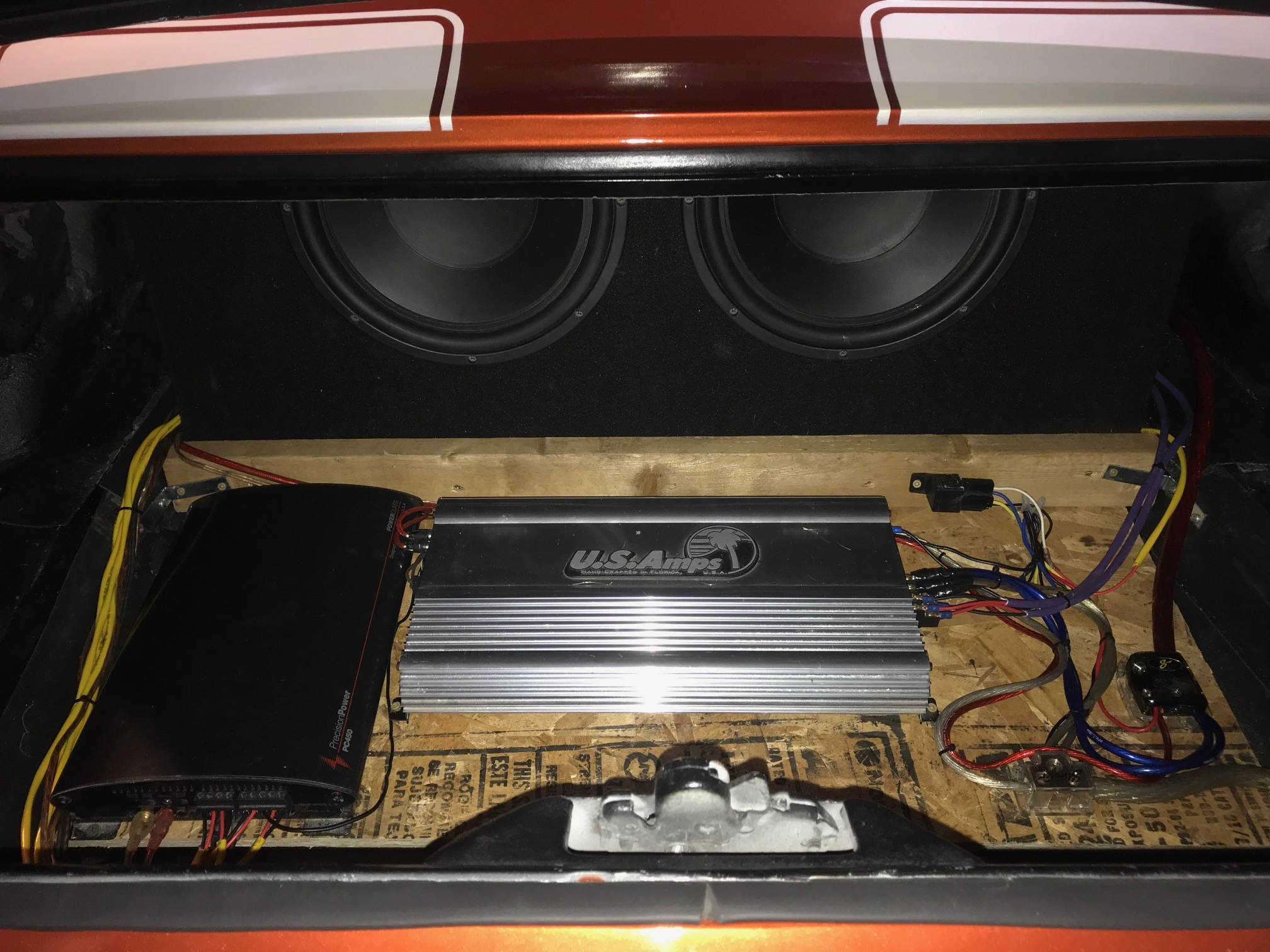 68 Camaro Install Page 4 Mac Diy Sub Wiring Two Amps Got It The Trunk All Buttoned Up I Always Relay My Remote Turn On If There Are Multiple That 1000x Is A Bit Of Hassle As Has